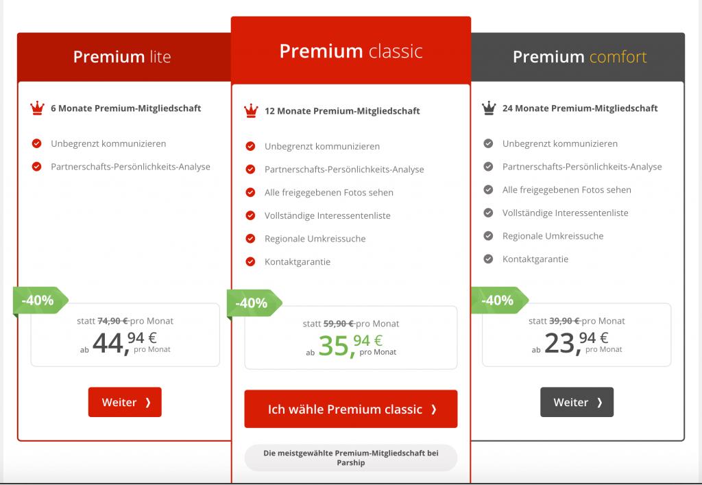 Parship Premium Kosten